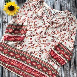 Old Navy sheer beige floral blouse